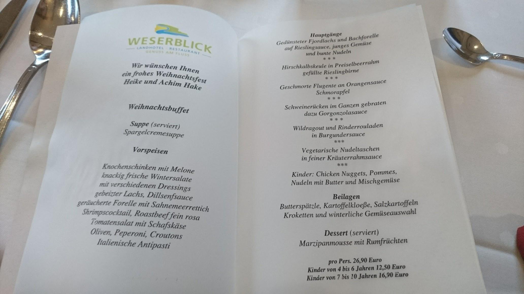 Landhotel Weserblick Blankenau Weihnachtsbuffett Speisekarte