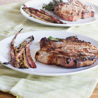 Miso Ginger Grilled Pork Chops and Swiss Chard