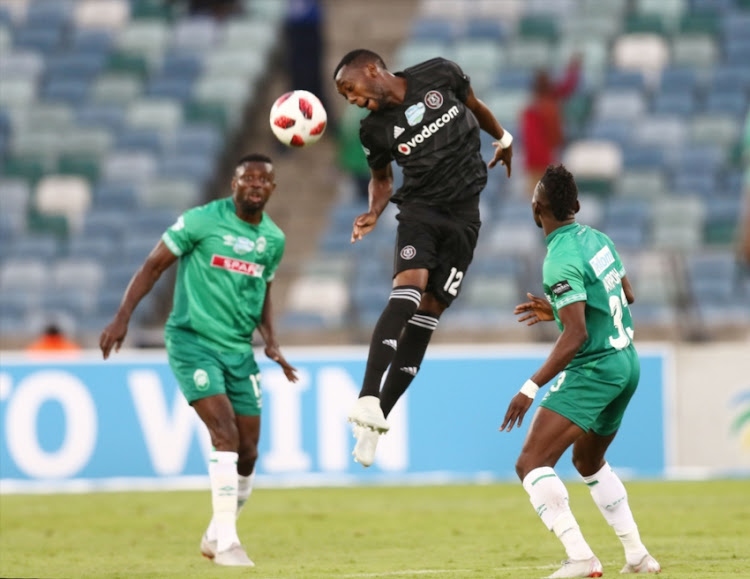 Samuel Darpoh of Amazulu FC and Justin Shonga of Orlando Pirates during the Telkom Knockout quarter final match AmaZulu FC and Orlando Pirates at Moses Mabhida Stadium on November 03, 2018 in Durban, South Africa.