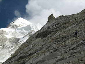 Photo: Shivling main summit at the left with the ice-wall (serac) at front