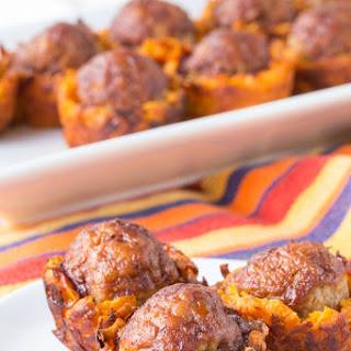 Barbecue Meatball Cheesy Sweet Potato Bites