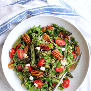 Quinoa Salad with Asparagus, Cherry Tomatoes and Pecans