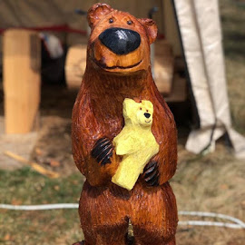 Teddy bear by Patricia Dippolito - Artistic Objects Other Objects ( chainsaw carving bear teddy bear )
