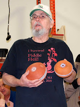 """Photo: Ed Karch is starting a new """"pottery"""" series using milk paint, with carved and painted """"daisy"""" bottoms."""