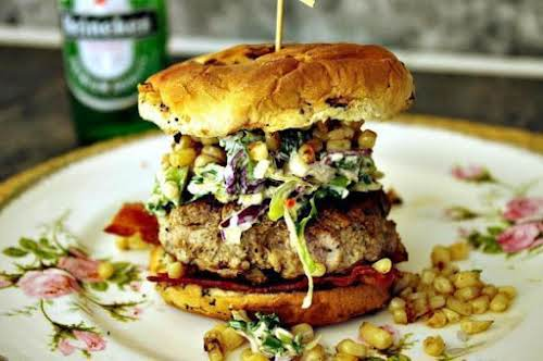 "Sirloin and Pork Burger with Blue Cheese Slaw ""The blue cheese slaw..."