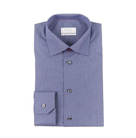 ETON mörkblå smårutig contemporary fit extra long sleeve