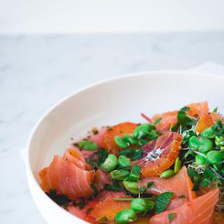 Smoked Salmon and Blood Orange Salad w/ Fava Beans & Blood Orange-Honey-Mint Vinaigrette