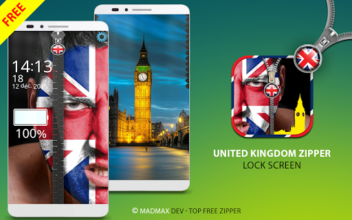 UK Flag Zipper Lock Screen