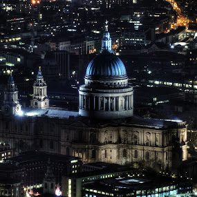 View From The Shard by Jade Newman - City,  Street & Park  Skylines ( building, skyline, zoom, street, trafalgar square, museum, historic, landmark, st pauls, england, london, night, cathedral )