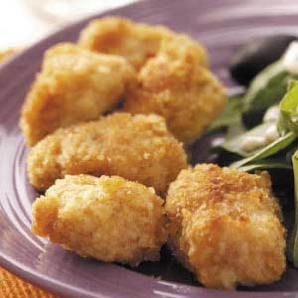 mix saltine cracker crumbs ,garlic salt ,seasoning salt in one dish    beat 1...