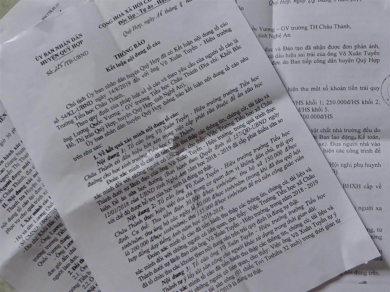 Qua xác minh, Thanh tra huyện Quỳ Hợp xác định các nội dung tố cáo của ông Vương về sai phạm của Hiệu trưởng Trường Tiểu học Châu Thành là tố cáo đúng