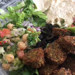 My salad with a side of falafel bites. The garlic sauce is YUM.
