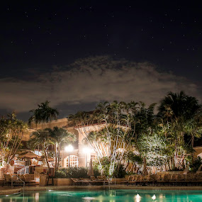 Paradise by Ralph Sobanski - Buildings & Architecture Office Buildings & Hotels ( pool, stars, long exposure, night, hotel )
