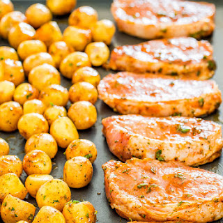 Ranch Pork Chops And Potatoes Sheet Pan Dinner.
