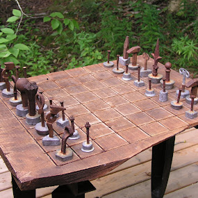 Metal Chess pieces by Rita Goebert - Artistic Objects Other Objects ( maine, chess board and pieces; rusting; scrap metal; peter beerit sculptures,  )