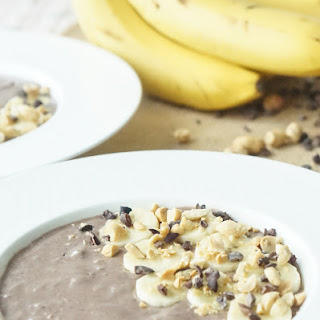 Healthy Smoothie Bowl with Chocolate, Peanut Butter & Banana.