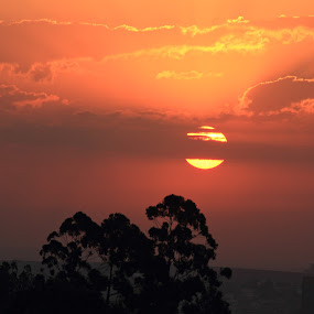 Winter Cloudy Sunset by Odilon Simões Corrêa - Landscapes Weather ( clouds, sky, nature, colorful, pwcfoulweather, sunset, trees, weather, landscape, sun, skyscape, city )