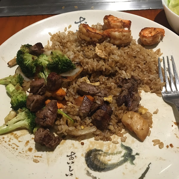 Picture doesn't do it justice. Gluten-free steak, shrimp, and scallop hibachi with fried rice. Amazing!