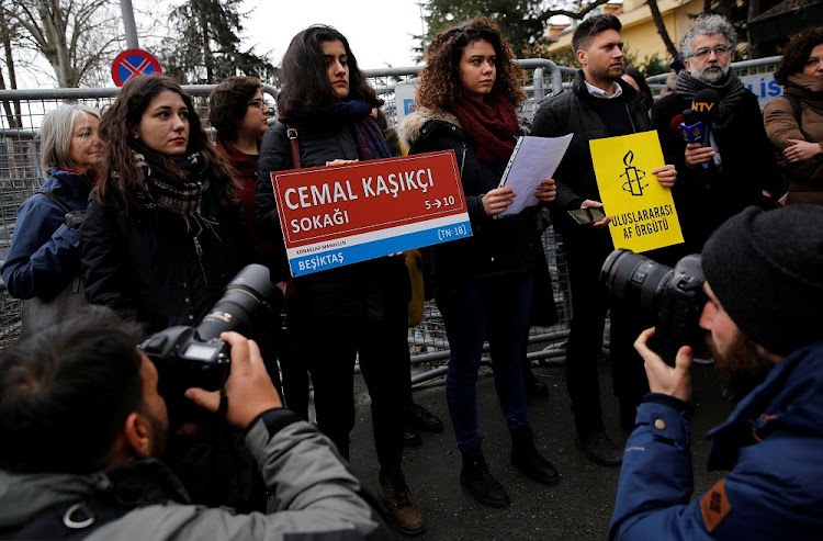 Members of Amnesty International Turkey hold a demonstration to mark the 100th day of Saudi journalist Jamal Khashoggi's killing in front of Saudi Arabia's Consulate in Istanbul, Turkey, January 10 2019. Picture: REUTERS/MURAD SEZER