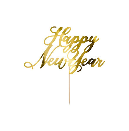 Tårtdekoration Happy new year - guld