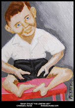 """Photo: Grady Stiles """"The Lobster Boy"""" Sideshow Stars No. 7. 2 ½ in x 3 ½ in. Acrylic paint on 140 lb. watercolor paper. Sealed with a non-yellowing glossy varnish. Signed on the front; title and signature on the back. Comes in a clear rigid plastic top-loader. ©Marisol McKee."""