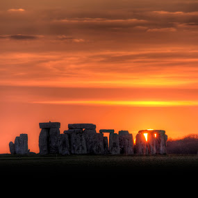 Stonehenge Sunset by Simon West - Landscapes Sunsets & Sunrises ( stonehenge, sunset, canvas, stones, standing )