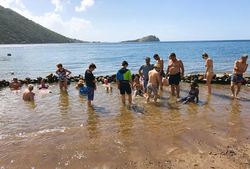 bubble-beach-spa-dominica.jpg - Silver Spirit passengers wade into the volcano-heated waters at Bubble Beach Spa in Dominica.
