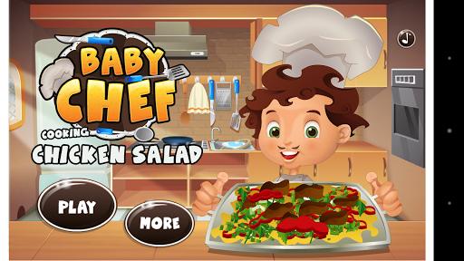 아기 요리사 요리 치킨 샐러드