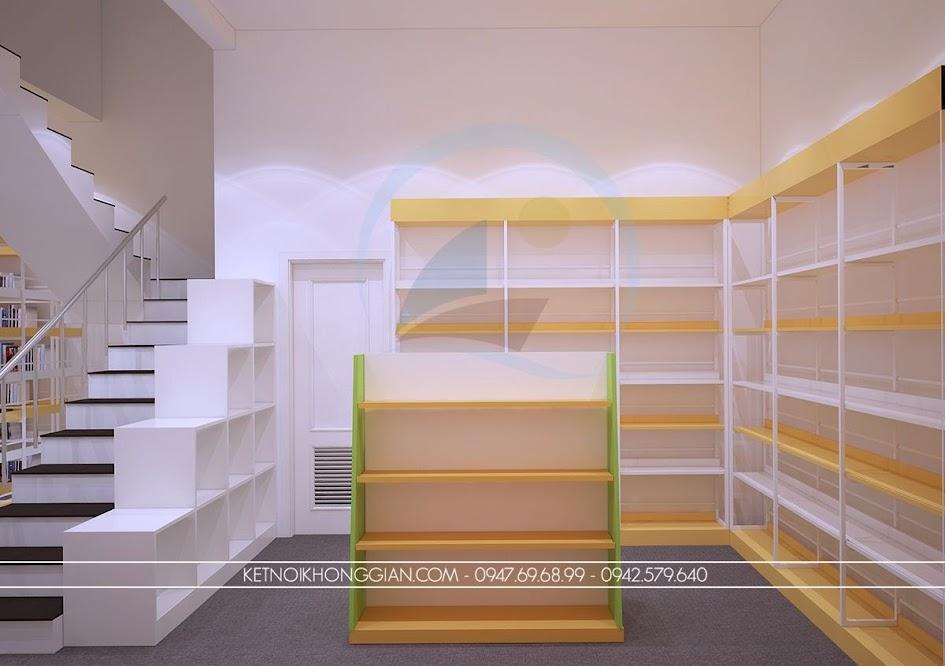thiết kế nội thất nhà sách linh hoạt