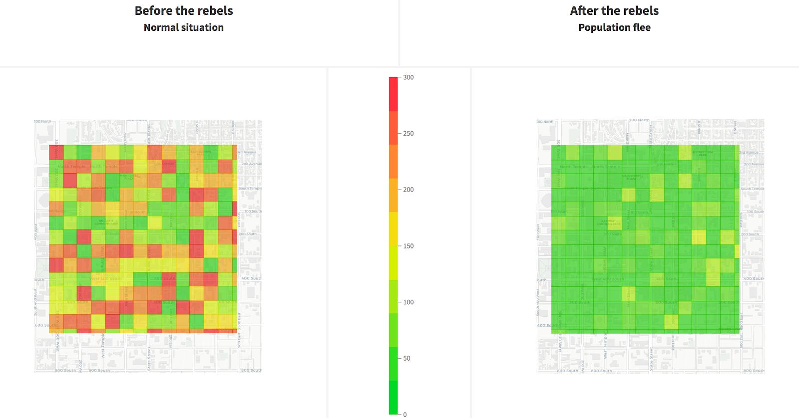 density of detected cars per neighborhood visualization