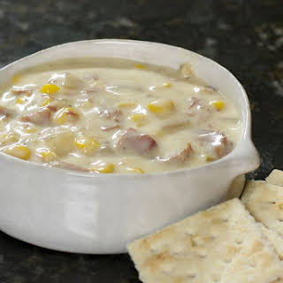Easy Slow Cooker Ham and Corn Chowder.