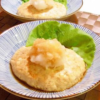Microwaved Tofu Salisbury Steak with Ponzu sauce and Grated Daikon Radish