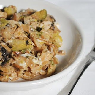 Pasta with Chicken, Mushrooms, Brussels Sprouts and Goat Cheese
