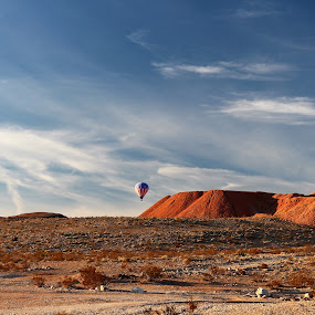 Balloon Rising by Diane Garcia - Landscapes Deserts ( balloon, mountains, outside, desert, colors )