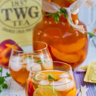 Iced Tea With Peaches & Lime.