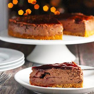 Raspberry White or Semi-Sweet Chocolate Cheesecake
