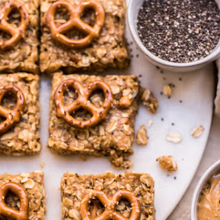 Healthy No Bake Peanut Butter Pretzel Granola Bars.