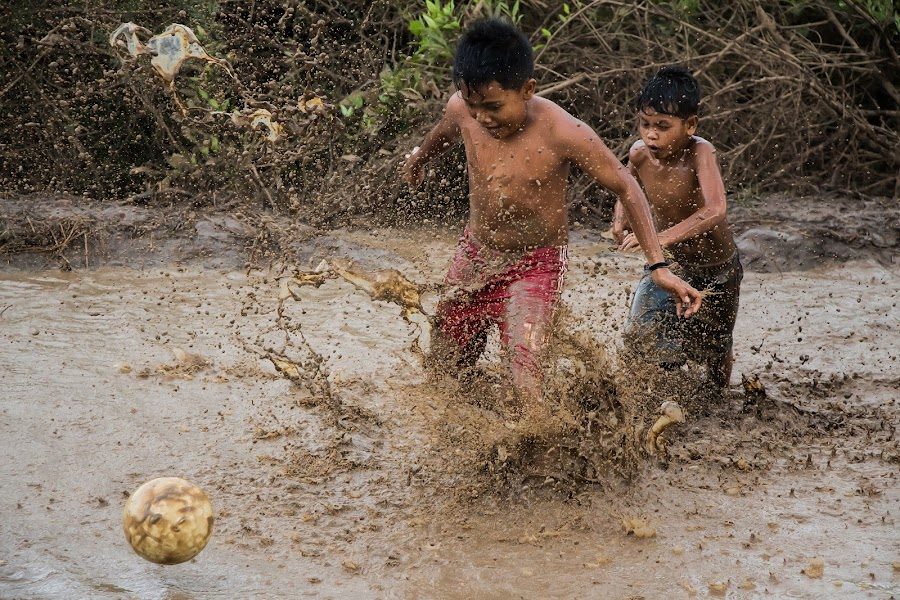 Mud Football by Teddy Winanda - People Street & Candids ( playing, football, mud football, happy, children,  )
