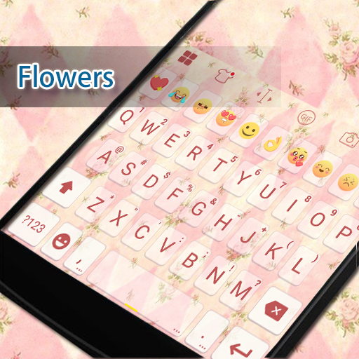 Pink Flower Keyboard -EmojiGif 遊戲 App LOGO-硬是要APP