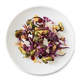 Roasted Brussels Sprouts with Cabbage and Pine Nuts.