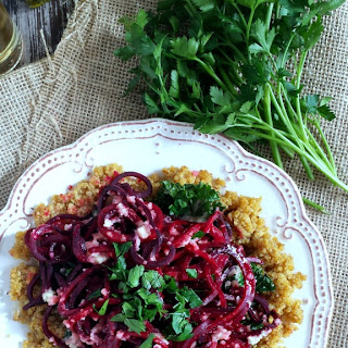 Roasted Beet Noodles, Kale & Quinoa with Yellow Onion Vinaigrette