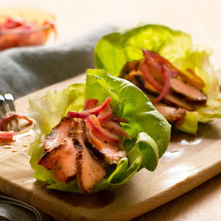 Grilled Pork Lettuce Cups with Cola-Pickled Onions.