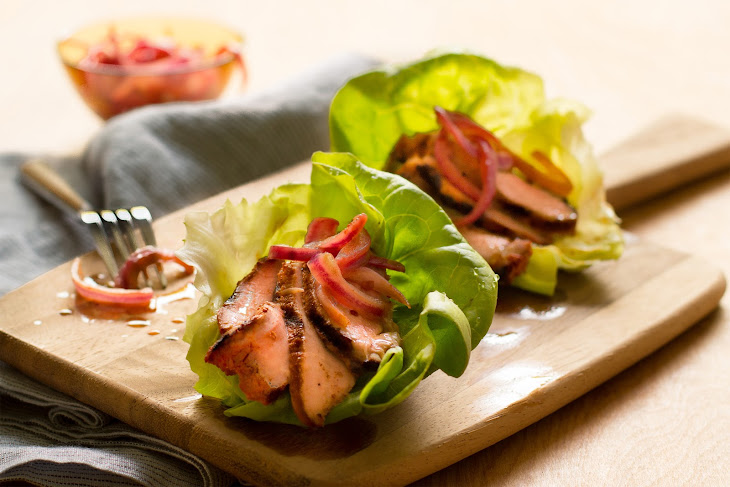 Grilled Pork Lettuce Cups with Cola-Pickled Onions