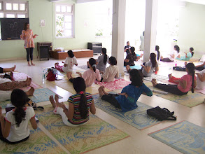 Photo: 1 Month YTT Course - Batch of May 2008 - Jeenal Mehta conducting Asana's Class (students preparing for Paschimottanasana).