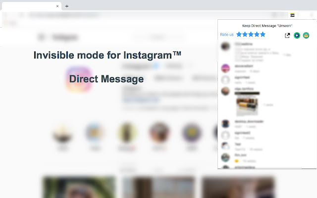 Invisible mode for Instagram™ Direct Message