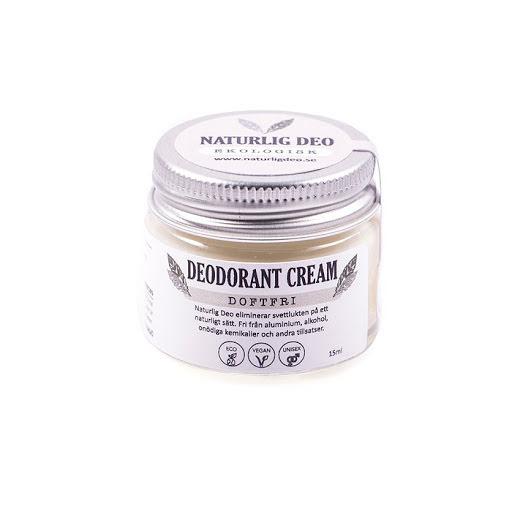 Naturlig deo, Ekologisk Deodorant Cream Doftfri, 15 ml