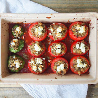 Brown Rice and Pesto Stuffed Tomatoes