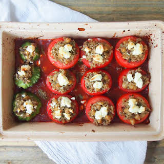 Brown Rice and Pesto Stuffed Tomatoes.