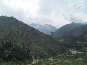 Photo: View from the earthen dam above Medeu, including the gondolas to Shymbulak