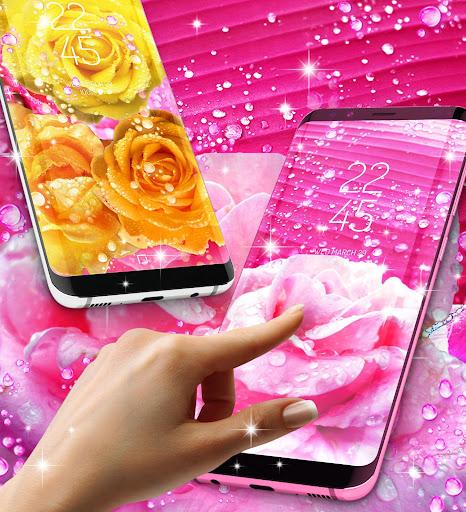 Rose pink water drop live wallpaper screenshots 2